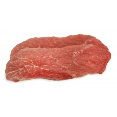 Schnitzel aus der Nuss vom Sortbroget-Schwein