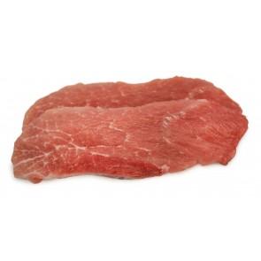 Schnitzel aus der Nuss vom Sortbroget Schwein